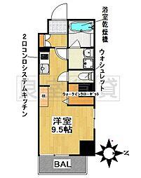 名古屋市営桜通線 瑞穂区役所駅 徒歩3分の賃貸マンション 6階ワンルームの間取り