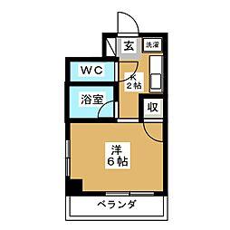 フジマンションボヌール 3階1Kの間取り