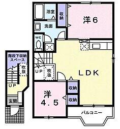 広島県福山市山手町1丁目の賃貸アパートの間取り