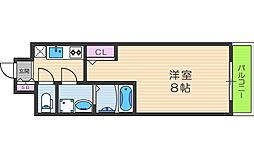 JR大阪環状線 福島駅 徒歩3分の賃貸マンション 8階1Kの間取り