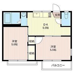 ビュ−テラス藤[2階]の間取り