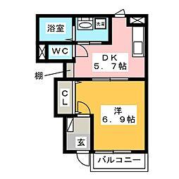 福岡県筑紫野市二日市中央4丁目の賃貸アパートの間取り