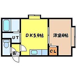 北海道札幌市北区北十三条西1丁目の賃貸アパートの間取り