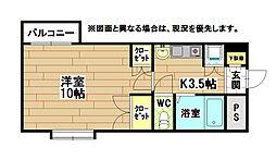 福岡県北九州市小倉北区中井3の賃貸マンションの間取り