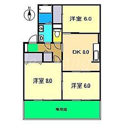 高知県南国市大そね甲の賃貸アパートの間取り