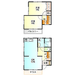 [テラスハウス] 神奈川県小田原市新屋 の賃貸【/】の間取り