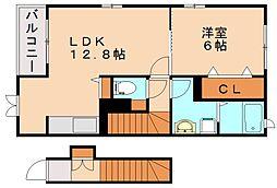 福岡県飯塚市弁分の賃貸アパートの間取り