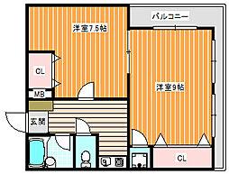クラッシーフラット藤田ハイツ[603号室]の間取り