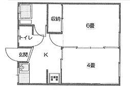 しあわせ荘[2階]の間取り