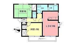 メゾンディアスII[1階]の間取り