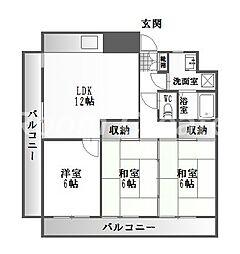 徳島県徳島市大原町内開の賃貸マンションの間取り