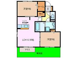 三重県桑名市野田6丁目の賃貸アパートの間取り