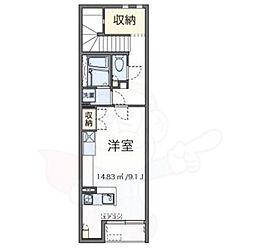 JR中央線 吉祥寺駅 バス11分 北野小東下車 徒歩9分の賃貸アパート 2階ワンルームの間取り