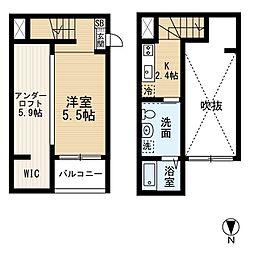 愛知県名古屋市西区天塚町4丁目の賃貸アパートの間取り