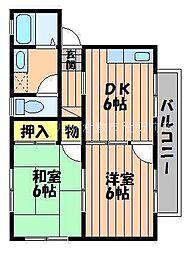 岡山県倉敷市上富井の賃貸アパートの間取り
