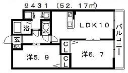 ガーデンコート丹南[203号室号室]の間取り