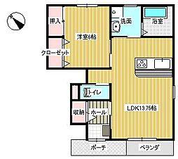 愛知環状鉄道 瀬戸口駅 徒歩12分の賃貸アパート 1階1LDKの間取り