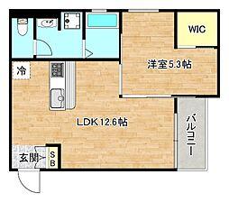 おおさか東線 城北公園通駅 徒歩11分の賃貸マンション 3階1LDKの間取り