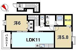 奈良県生駒市壱分町の賃貸アパートの間取り