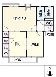 ラ・カーサ B棟[2階]の間取り