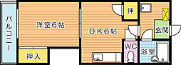 福岡県北九州市八幡西区医生ケ丘の賃貸マンションの間取り