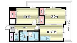 大阪府豊中市上新田3丁目の賃貸マンションの間取り