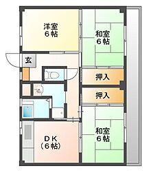 ビレッジハウス迎田4号棟[2階]の間取り