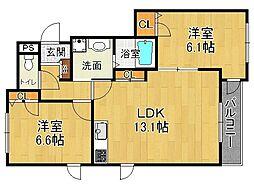 兵庫県伊丹市御願塚1丁目の賃貸アパートの間取り