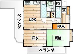 神岳第一ハイツ[6階]の間取り