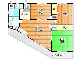 メロディーハイツ[4階]の間取り
