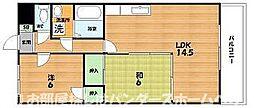 大阪府交野市私部西2丁目の賃貸マンションの間取り