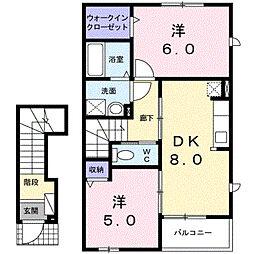 富山県富山市八木山の賃貸アパートの間取り