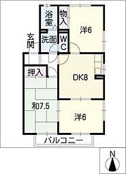 メルベーユ春木台 B棟[2階]の間取り