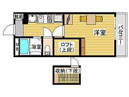 レオパレスカメリア西片江[2階]の間取り