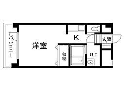 サテラ永山 2階1Kの間取り