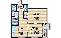 大阪府豊中市長興寺南4丁目の賃貸マンションの間取り