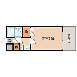 近鉄大阪線 桜井駅 徒歩10分の賃貸マンション 1階1Kの間取り