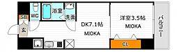 レオンコンフォート天王寺東 8階1DKの間取り