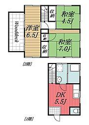 [一戸建] 千葉県千葉市稲毛区六方町 の賃貸【/】の間取り