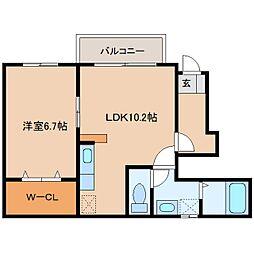 奈良県大和高田市曽大根の賃貸アパートの間取り