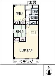 ミレニアム八田[3階]の間取り