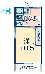 シティーハイム上野田[2階南号室]の間取り