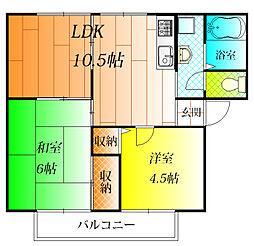サンビレッジ寺田 B[1階]の間取り