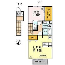 山口県下関市小月本町2丁目の賃貸アパートの間取り
