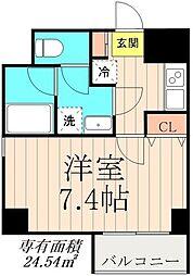 デュオメゾン錦糸町 7階1Kの間取り
