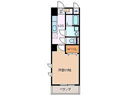 伊勢鉄道 津駅 徒歩19分の賃貸マンション 8階1Kの間取り