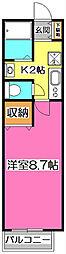 JR武蔵野線 新秋津駅 徒歩10分の賃貸アパート 2階1Kの間取り