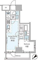 東京メトロ銀座線 赤坂見附駅 徒歩7分の賃貸マンション 10階1LDKの間取り