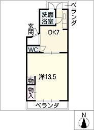 コーポ三笠[1階]の間取り