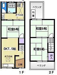 [テラスハウス] 大阪府大東市氷野1丁目 の賃貸【/】の間取り